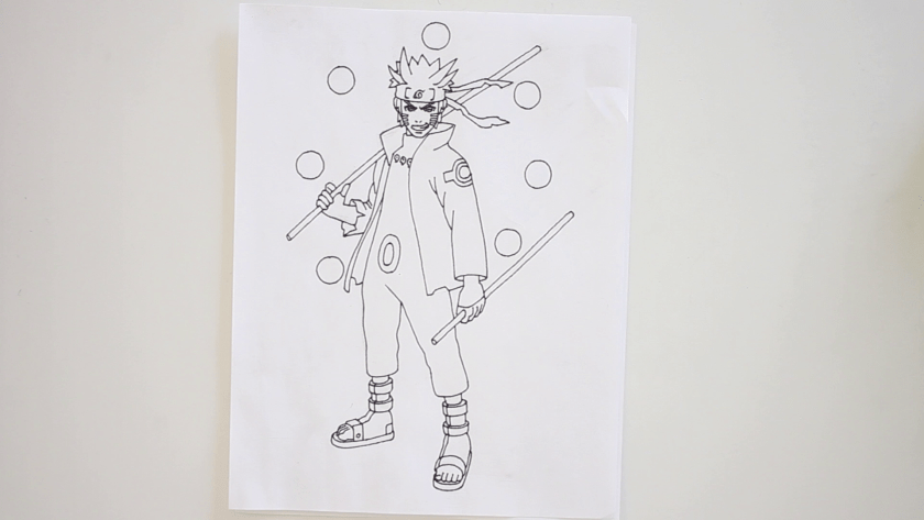 How to Draw Six Paths Sage Mode Naruto - Step 5 - Trace Pencil Lines with Marker