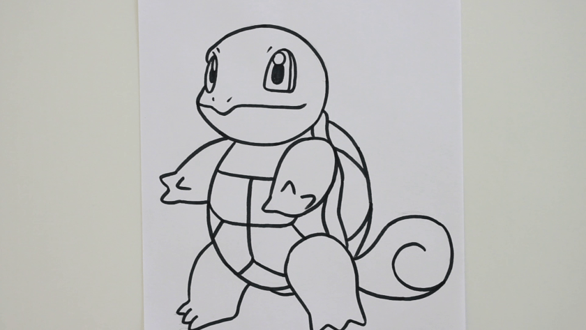 How to Draw Squirtle - Step 3 - Trace Pencil Lines with Marker