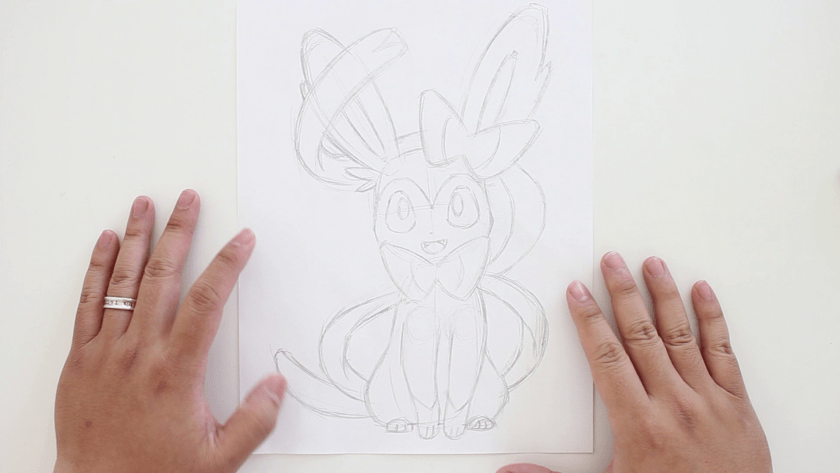How to Draw Sylveon - Step 2 - Refined Pencil Drawing