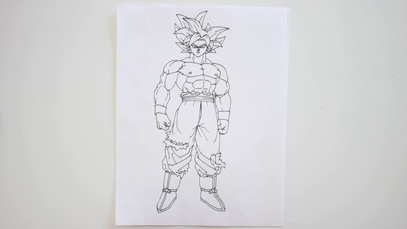 How to Draw Ultra Instinct Goku - Step 5 - Trace Pencil Lines with Marker