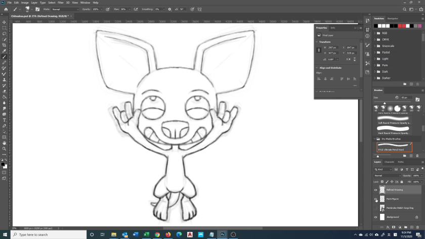 How to Draw Chihuahua - Step 2A - Refined Drawing