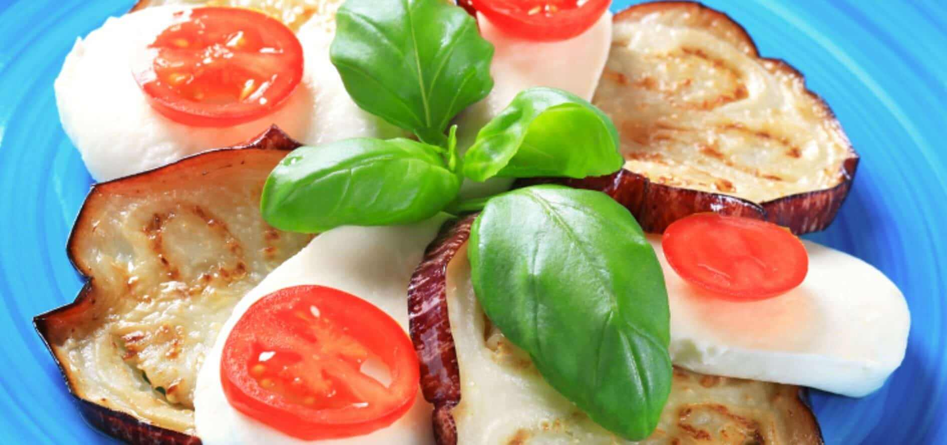 Grilled Eggplant With Mozzarella and Basil