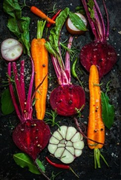roasted beets and garden vegetables