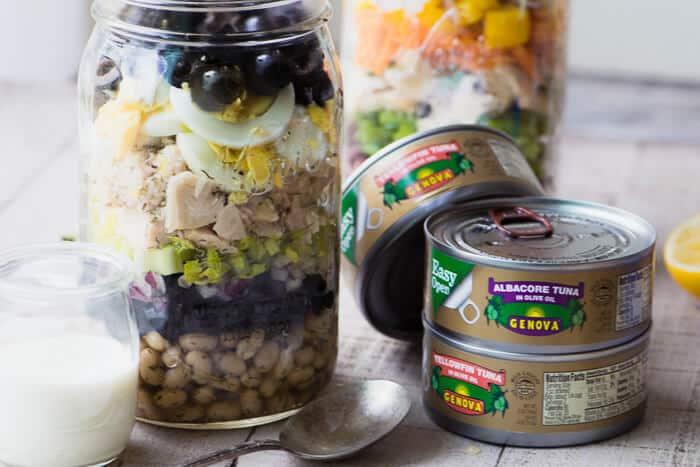 Healthy Layered Tuna Salad Mason Jars
