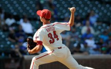 Aug 24, 2013; Chicago, IL, USA; National pitcher Michael Kopech (34) delivers a pitch during the 2013 Under Armour All-American Baseball game at Wrigley Field. Mandatory Credit: Reid Compton-USA TODAY Sports