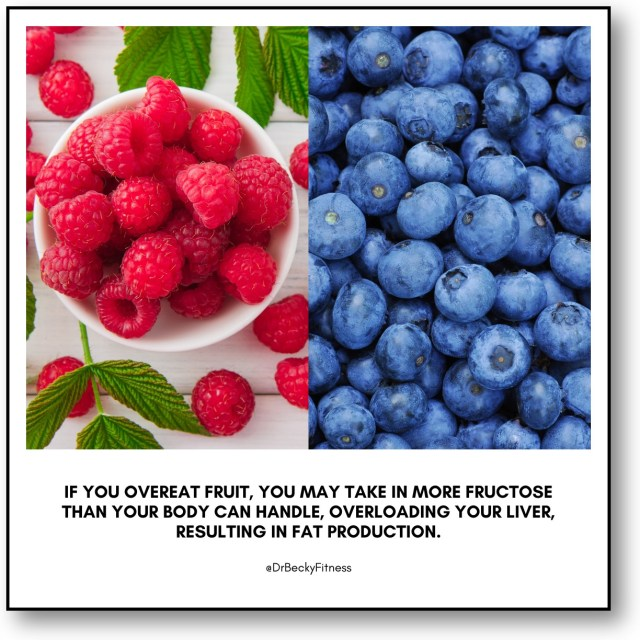 If you overeat fruit, you may take in more fructose than your body can handle, overloading your liver, resulting in fat production.