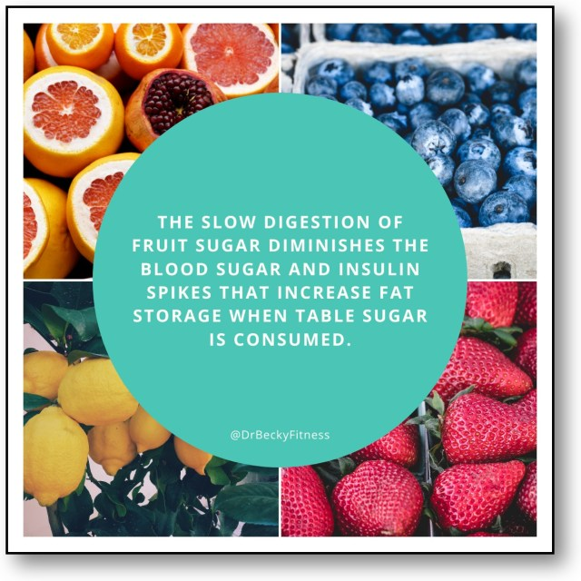 The slow digestion of fruit sugar diminishes the blood sugar and insulin spikes that increase fat storage when table sugar is consumed.