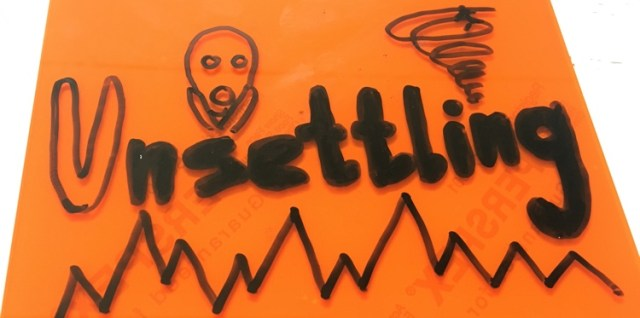 The word 'Unsettling' on a red tile, with images of a line going up and down, a vortex spinning around the top, and Munchen's scream