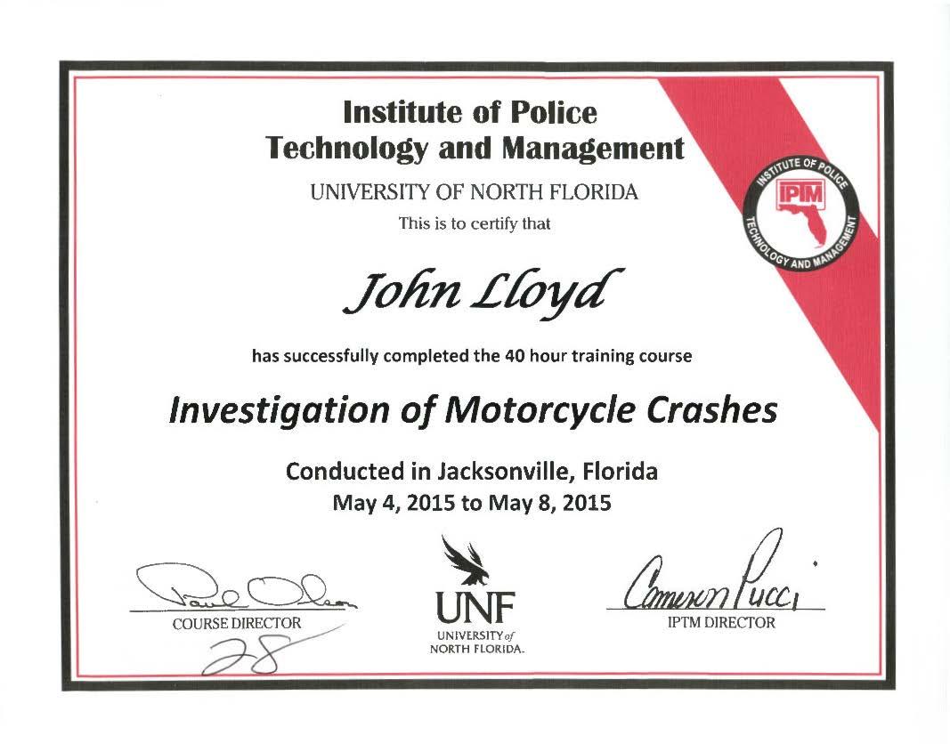 Motorcycle crash investigation certification dr john lloyd dr john lloyd certified in motorcycle crash investigation xflitez Gallery