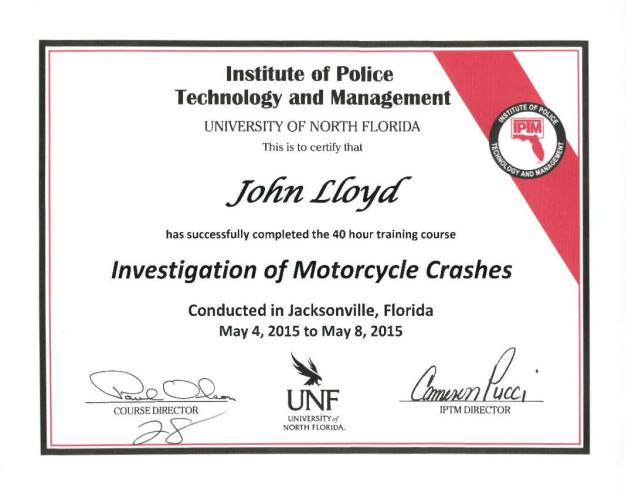 Dr. John Lloyd - Certified in Motorcycle Crash Investigation