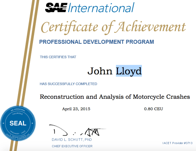 Dr John Lloyd certified motorcycle accident expert
