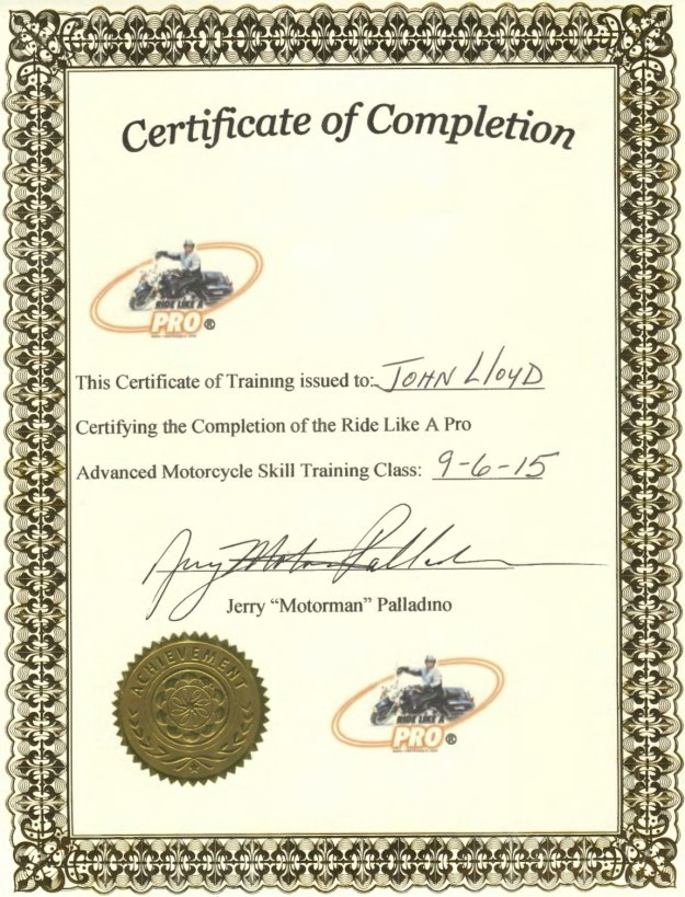 John Lloyd expert Ride Like a Pro motorcycle training certificate 20150906