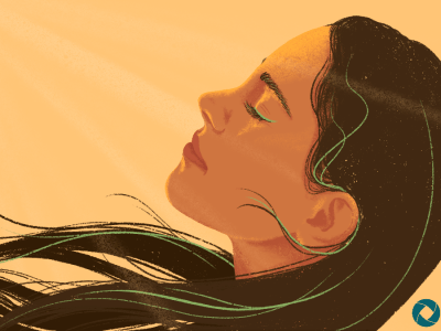 Woman's face in the sunshine