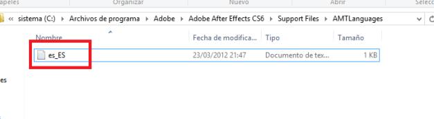 cambiar Adobe After idioma