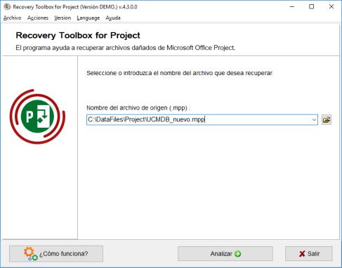 Recuperar archivo de Microsoft Project