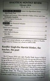 My obituary on Prof. Randhir Singh in February -16 Analytical MR (2)