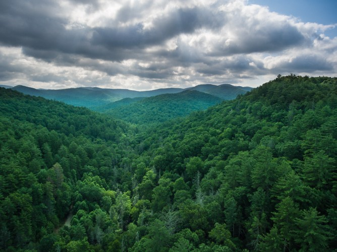 View from high above Helton Creek Falls