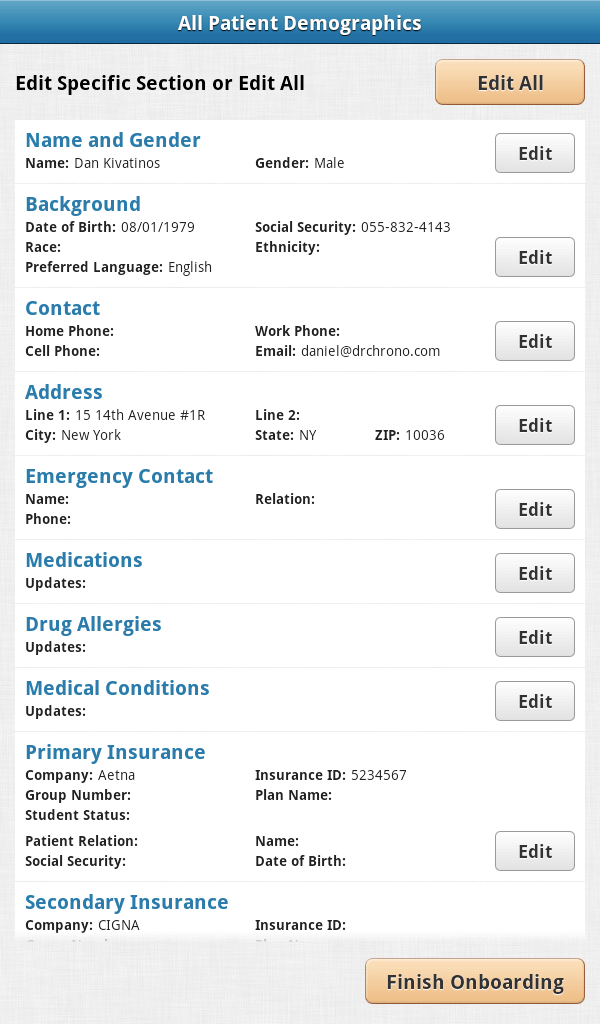 electronic health records app for android patient details edit screen