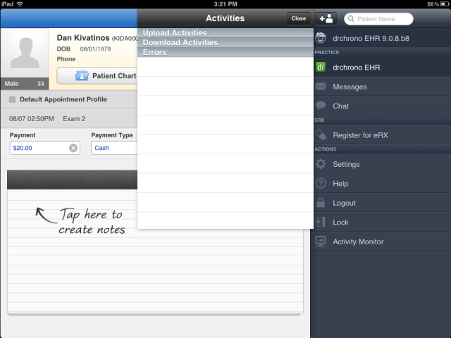 activity monitor in drchrono electronic health records iPad app