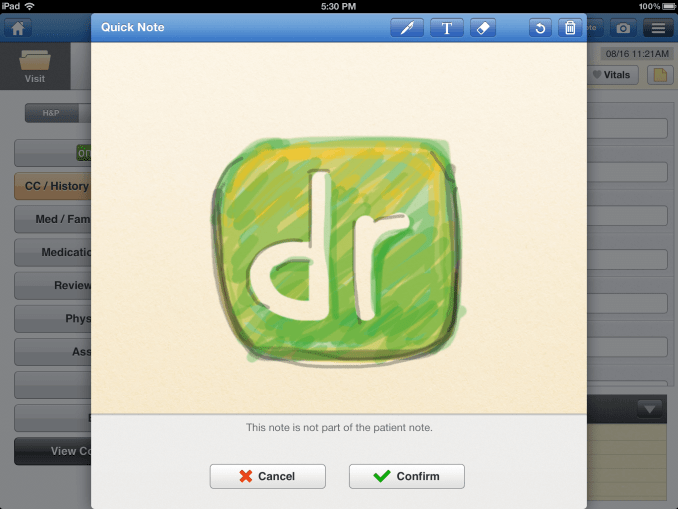 quick note screen on drchrono electronic medical records iPad app