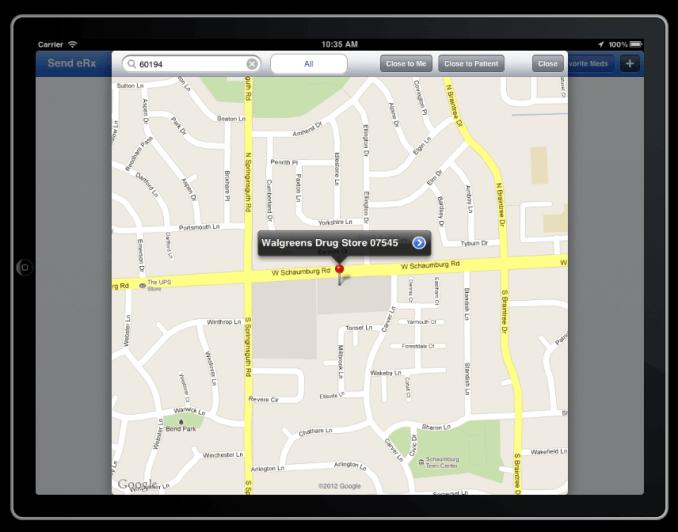 pharmacy selection screen on drchrono electronics health records iPad app