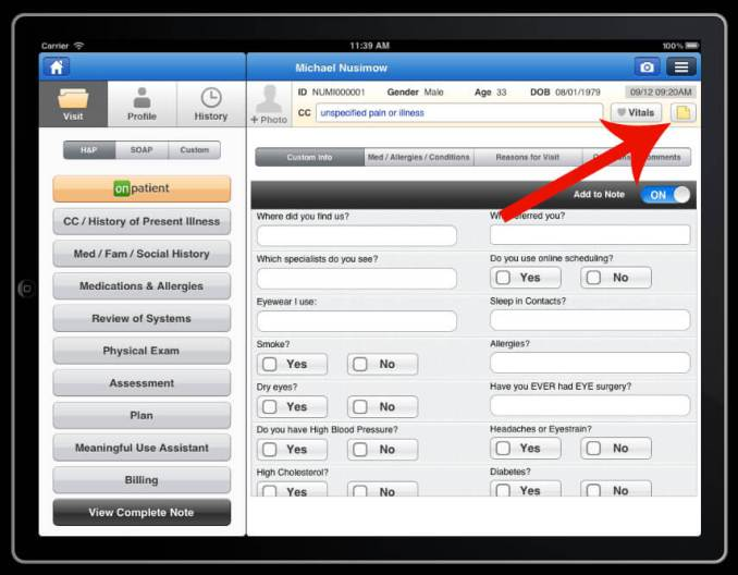 add a note sticky note icon on drchrono electronic health records patient screen