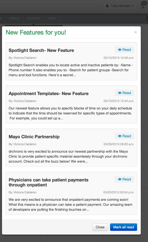 EHR notification pop up screen on iPad