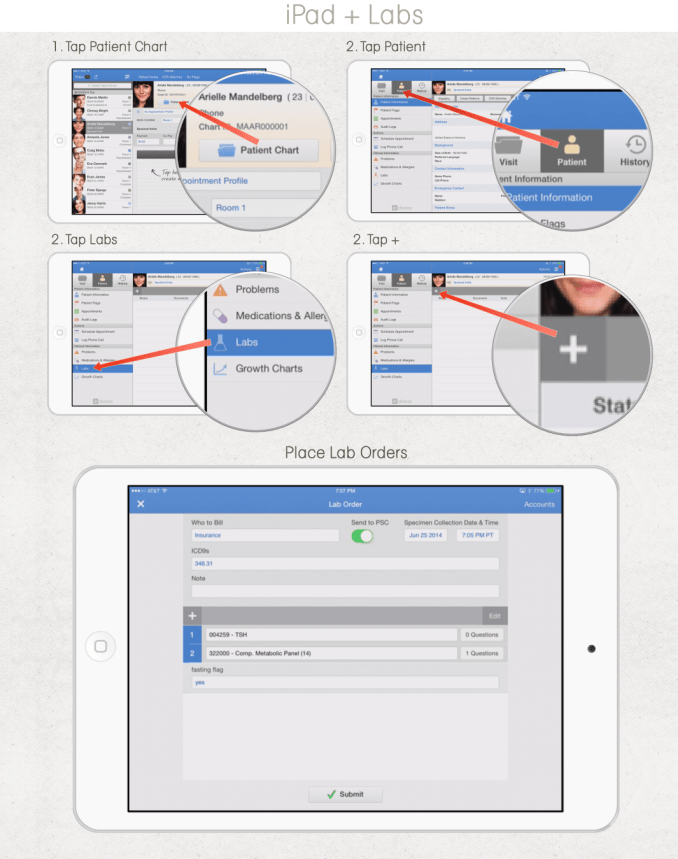 Lab orders in drchrono EHR software app for iPad