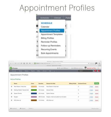 appointment profiles screen and menu in drchrono medical practice management software