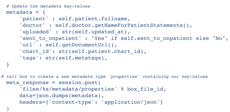 Box.com Healthcare Metadata Example