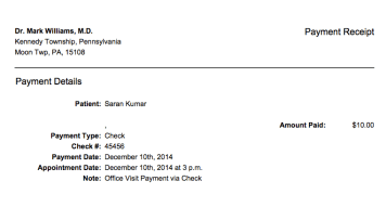 Check# in receipt