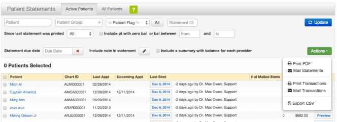 Print Patient statement list