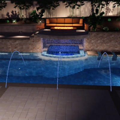 Modern Style Pool with Spa Inside Grotto