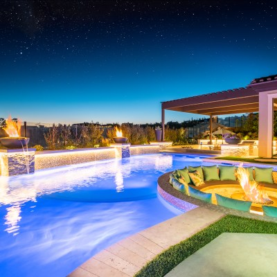 Modern Swimming Pool, Spa, Sunken Fire Pit, Outdoor Shower, Outdoor Kitchen, Beach Entry and Much More….