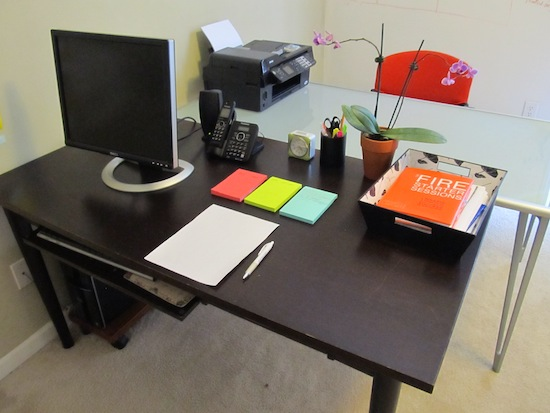Cleaning and Disinfecting a desk