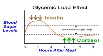 blood sugar curve after eating a meal. Insulin will serve to reduce blood sugar (putting it into tissue). As the night progresses, blood sugar continues to drop. Cortisol will surge to keep blood sugar at a normal physiologic level.