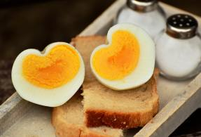 picture of hard boiled eggs, cut in half, looking like a heart