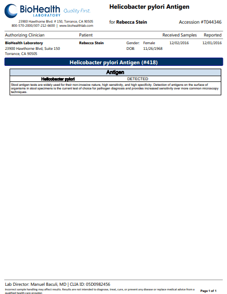 sample report of bioHealth stool test