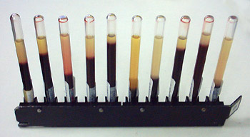 Figure 1: ESR measures how quickly red blood cells with settle down and clump together. These test tubes are showing various amounts of red blood cell sedimentation rates: notice how the amount of dark red (red blood cells) are all at various heights in each tube. ESR also incorporates time into this measurement.