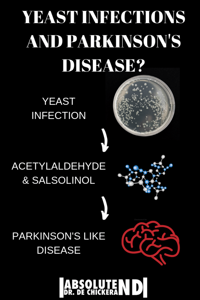 diagram showing relationship between candida and parkonson's like disease
