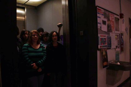 Filming in a crowded elevator