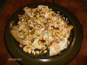 cooked fish with nuts