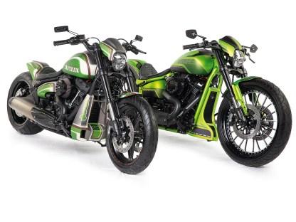 """Die """"Zwillinge"""". Links im Bild das Bike aus Bielefeld, das selbstredend nicht so spektakulär ist wie das Bike aus Düsseldorf, dafür aber auch nur die Hälfte kostet"""