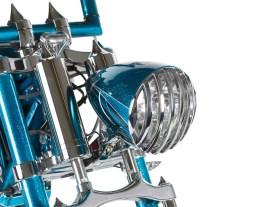 Der Scheinwerfer stammt von Headwinds, die luftgederte Springergabel von Thunderbike