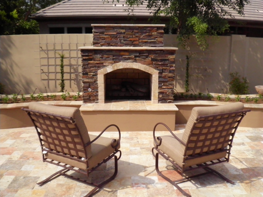 Cozy Up!! Outdoor Fireplaces In Arizona Landscape Designs on Fireplace In Yard id=84116
