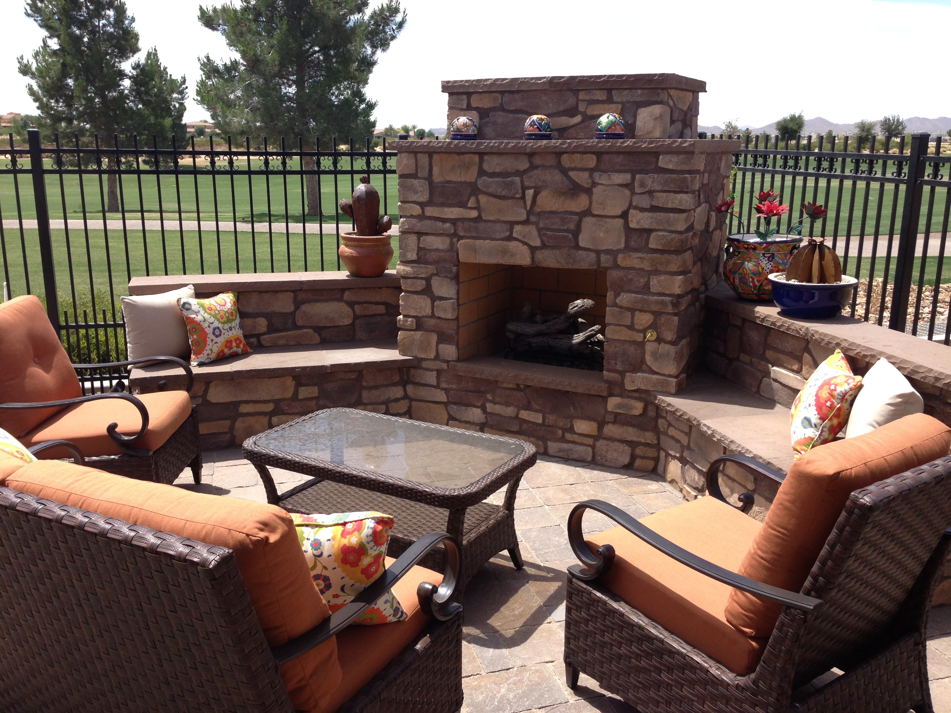 Cozy Up!! Outdoor Fireplaces In Arizona Landscape Designs on Fireplace In Yard id=14276