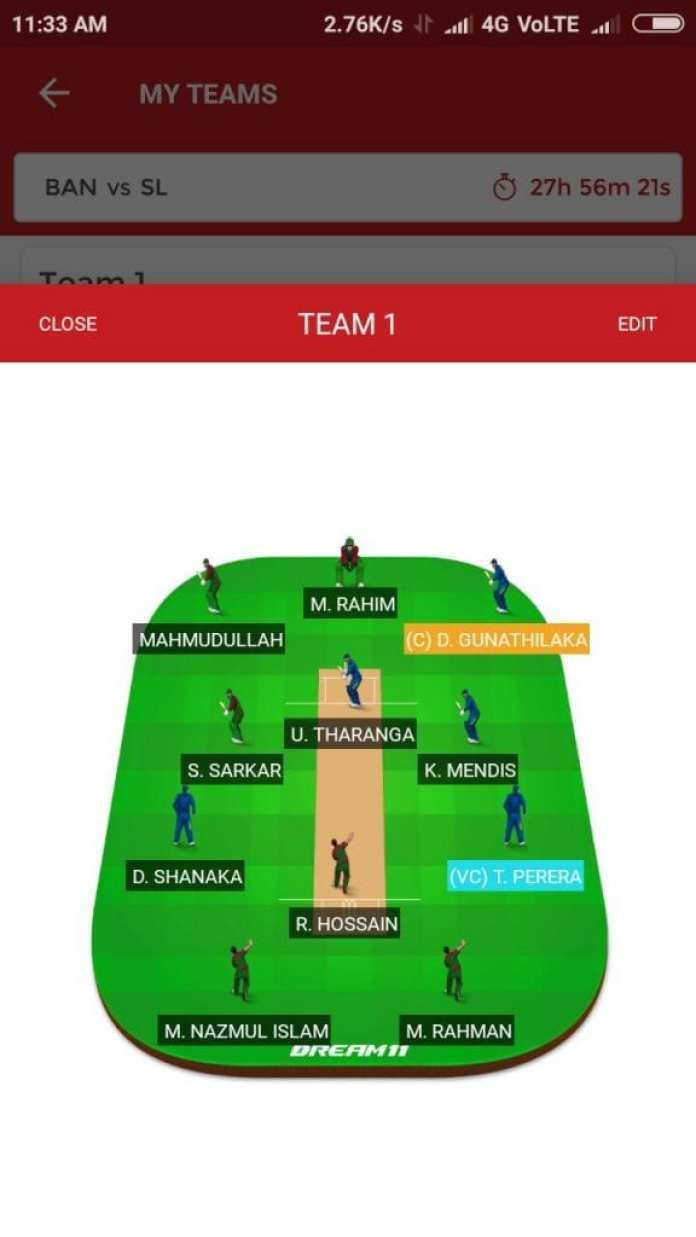 SL vs BAN, 2nd T20I Match Dream11 Team