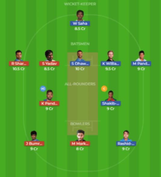 HYD vs MUM 7th Match Dream11 Team