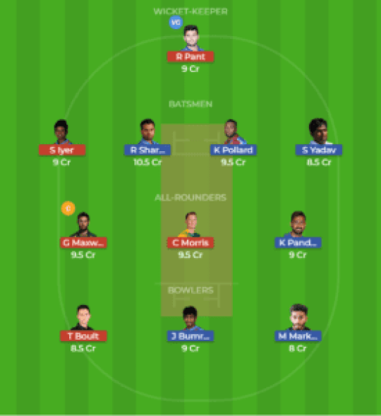 MUM vs DEL 9th Match Dream11 Team Screen Shot