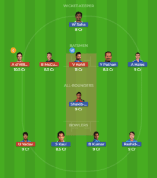 HYD vs BLR 39th Match Dream11 Team